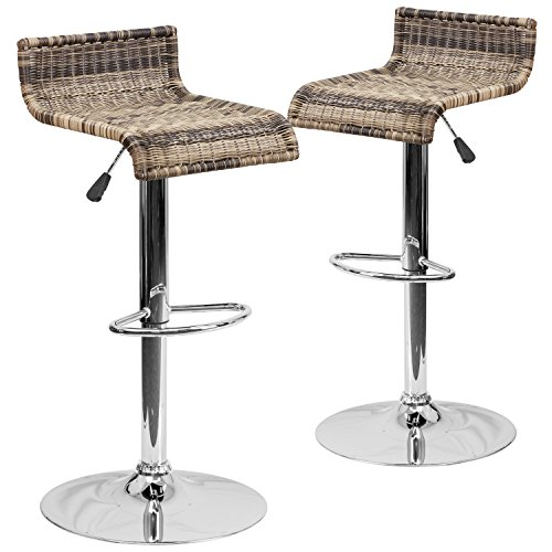 Flash Furniture 2 Pk. Contemporary Wicker Adjustable Height Barstool with Chrome Base (Bar Wicker Style Stools)