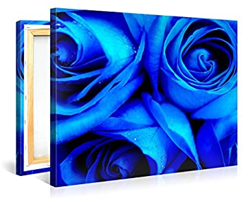 Large Canvas Print Wall Art BLUE ROSES 40×30 Inch Flower Canvas Picture Stretched On A Wooden Frame Giclee Canvas Printing Hanging Wall Deco Picture e2547