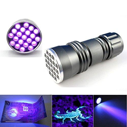 Microstream High Powered Led Penlight (Perman UV Ultra Violet 21 LED Flashlight Mini Blacklight Aluminum Torch Light Lamp Emitted Purple)
