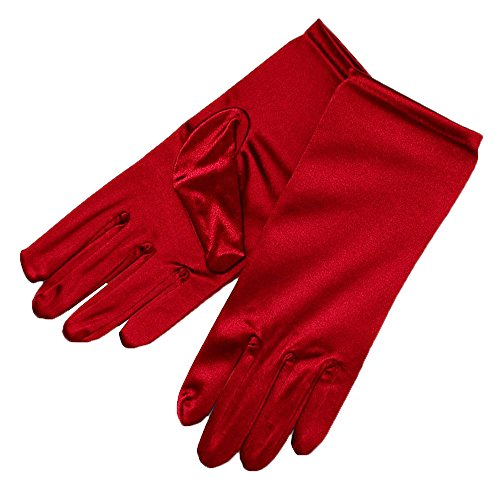 ZaZa Bridal Shiny Stretch Satin Dress Gloves Wrist Length 2BL-Red