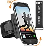 Premium Sports Running Armband for All Phones: iPhone X XR XS Max 8 Plus 7 Plus 6, Samsung Galaxy A8 S9 S8 S6 Edge, LG, HTC, Pixel; 180° Rotatable Universal Cellphone Holder + Free Extender Strap
