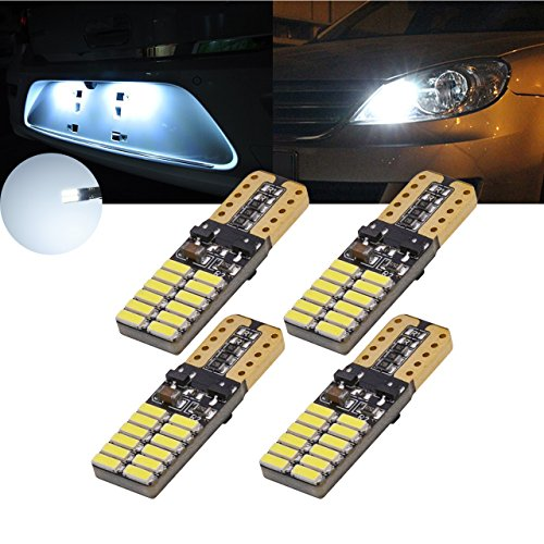 TUINCYN 194 168 T10 192 2825 W5W LED Bulb White 800 Lumens Wedge LED Light Car Interior Dome Light Dashboard Light License Plate Light Side Marker Light Backup Light 12V~24V 5W (Pack of 4)