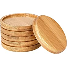 Frienda 6 Pack Trays 2.5 Inch Bamboo Round Plant Saucer for Most 2.5 Inch Plant Pot Flower Pot, Solution for 2.5 Inch Owl Pot with Hole