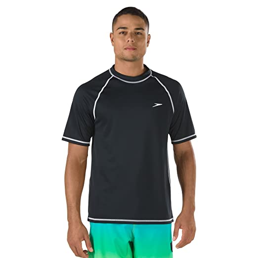 80444d6cdf3 Speed Men's Short Sleeve Easy Rash Guard Swim Shirt with UV and UPF 50+  Protection