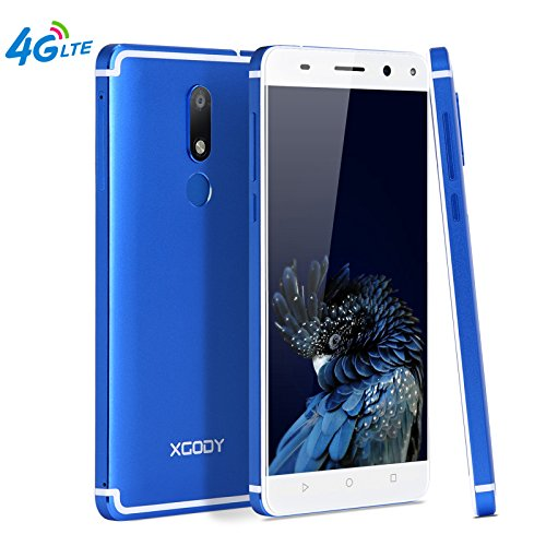 Xgody D22 4G FDD-LTE Unlocked Cell Phones Android 7.0 16GB ROM 2GB RAM 5.5 Inch Dual SIM Dual Cameral 13 MP&5 MP HD Screen with Fingerprint Scanner For At&T T-mobile Telefonos Desbloqueados Azul(Blue) (Telefonos Android T Mobile)