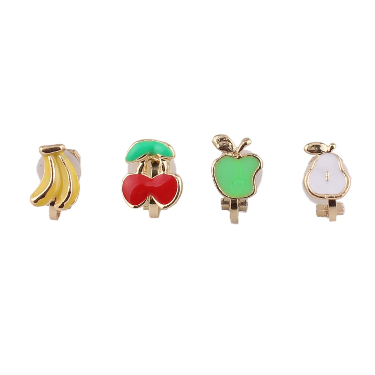 Fashion Cute Small Clover Bowknot Flower Cartoon Clip on Earrings Non Piercing for Girl's Kids (Fruit)