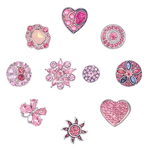 PH PandaHall 10pcs Alloy Pink Series Rhinestones Snaps Buttons Jewelry Charms for Snaps Jewelry Making Charms(Butterfly, Flower, Heart, Rose)