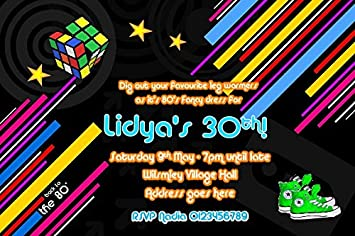 Personalised 80s Birthday Party Invitations x10 Amazoncouk Toys