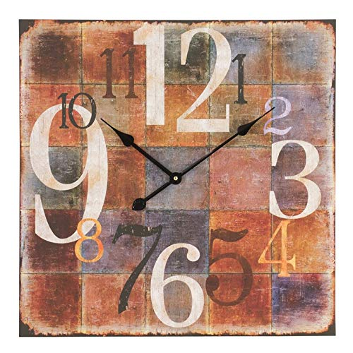 Winston Porter Square Wooden Large Wall Clock MDF 23.5'' Oversized Arabic Numeral Modern Analog Wall Clock Home Office Living Room Decoration from Winston Porter