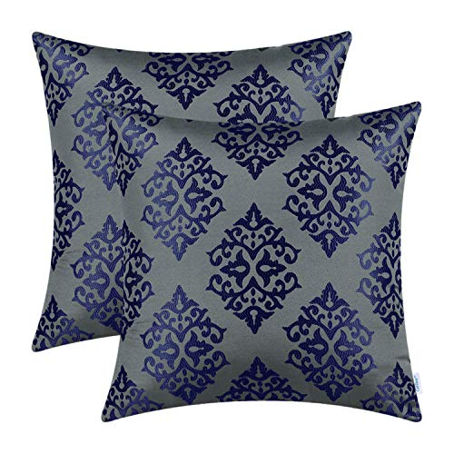 CaliTime Pack of 2 Soft Jacquard Throw Pillow Covers Cases for Couch Sofa Home Decoration Vintage Damask Floral 18 X 18 Inches Grey/Navy Blue (Blue Decorations Grey Christmas)