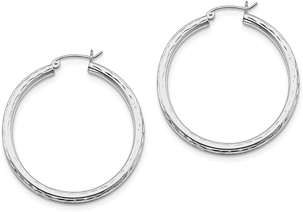 925 Sterling Silver Rhodium-plated 3.00mm Diamond-cut Hoop Earrings