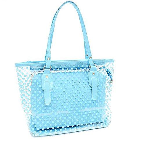 Manka Vesa Women's 2 in 1 Dots Clear Handbag Purse Tote Beach Shoulder Sling Bag (Plastic Beach Tote)