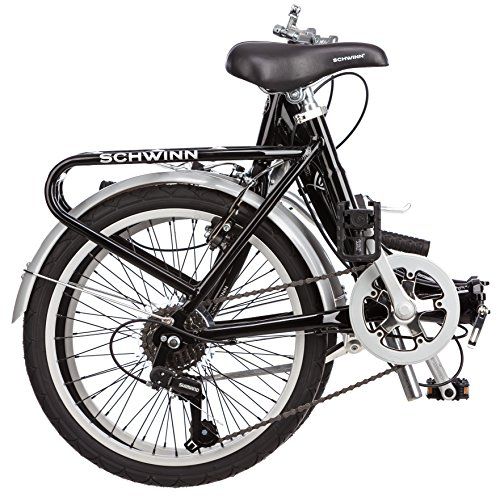 Schwinn Loop Folding Bicycle with Rear Carry Rack, Black
