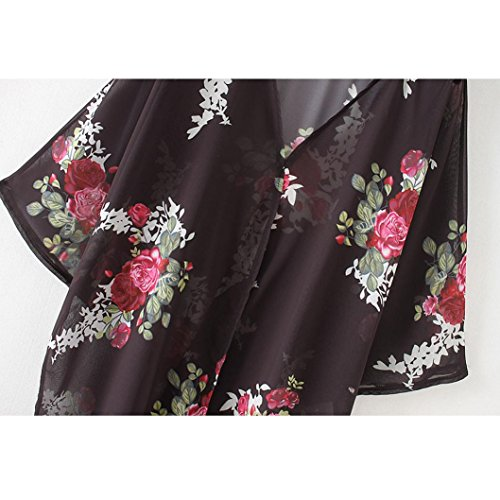 Soie Tunique Vrac Shawl Femmes Maxi Châle Blouse Outwear Manteau Noir Veste 3 Cover de Kimono Bikini Mousseline de Up LuckyGirls Cardigan 4 S en Manches Casual Imprimé 3XL Plage Ete Floral qXYgn1