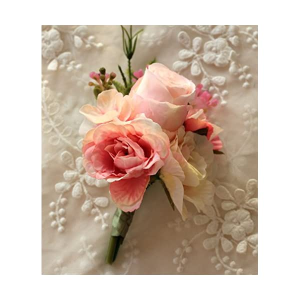 MOJUN Artificial Rose Flower Boutonniere Handmade Floral Silk Fabric for Grooms Groomsmen Prom Party Wedding Decor, Pack of 2, Pink