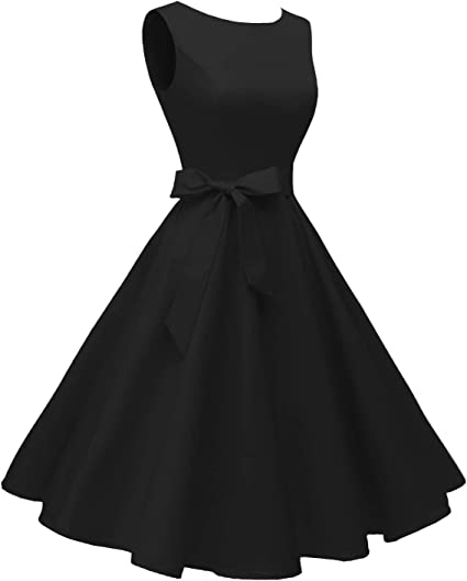 Women's Boatneck Sleeveless Swing Vintage Cocktail Dress