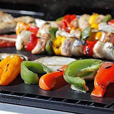 BBQ Grill Mat: Lifetime Guarantee, 2 Highest Quality Non-Stick PFOA-Free Reusable Extra Thick BBQ Grill & Baking Mats, Perfect for Gas, Charcoal, Electric Grills, with Bonus Grill Mastery Recipe Ebook