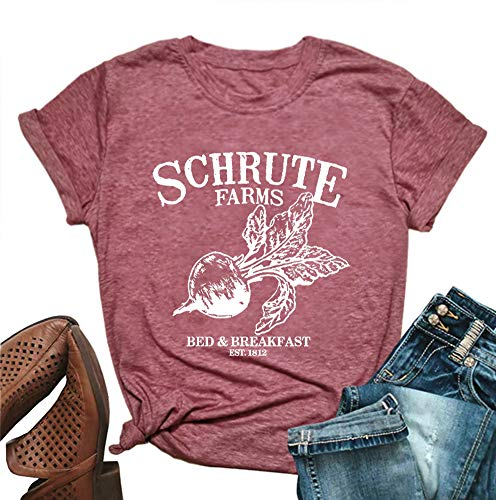 MOMOER Schrute Farms Shirt Women Cute Graphic Tees Cotton Shoort Sleeve Letter Print Funny T-Shirt Tops (Pink, ()