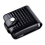 boshiho Small Makeup Bag with Mirror Leather Cosmetic Pouch Case (Black)