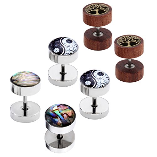 PiercingJ 6pcs 16G Mens Womens Stainless Steel Flower Life Tree Stud Barbell Earrings Illusion Ear Plug 0G Gauge Look