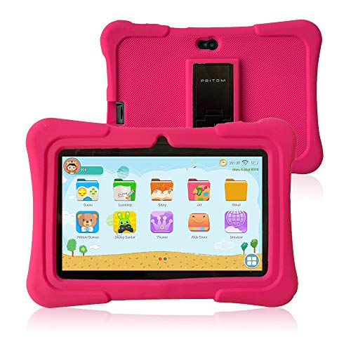 Pritom 7 inch Kids Tablet | Quad Core Android,1GB RAM+16GB ROM | WiFi,Bluetooth,Dual Camera | Educational,Games,Parental Control,Kids Software Pre-Installed with Kids-Tablet Case (Pink) (Best Camera On A 7 Inch Tablet)