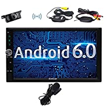 """Wireless Backup Camera included, 7"""" Android 6.0 Car Stereo GPS Navigation, Dual CAM-IN External MIC Bluetooth for Hands Free Calling, USB SD 3G 4G WIFI OBD2 Phone Mirror, Subwoofer Audio Output(Optional)"""