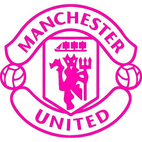 NBFU DECALS FC MU Manchester United (Pink) (Set of 2) Premium Waterproof Vinyl Decal Stickers for Laptop Phone Accessory Helmet CAR Window Bumper Mug Tuber Cup Door Wall Decoration