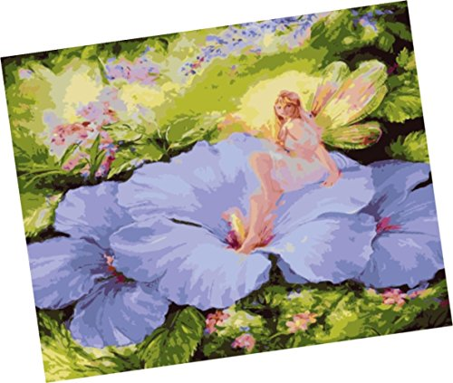 Wowdecor Paint by Numbers Kits for Adults Kids, Number Painting - Flower Fairy, Little Girl and Flowers 16x20 inch (Framed)
