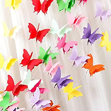 Rainbow Butterfly Paper Garland Party Decorations