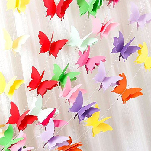 Rainbow Butterfly Paper Garland Party Decorations - birthday decorations,birthday party decorations,party decorations,wedding decorations,wedding shower decorations,birthday decorations for 1st. Gifttoys