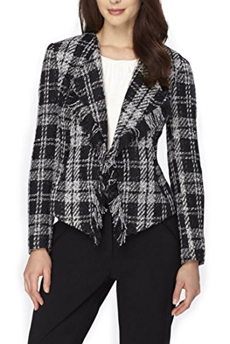 Tahari Fringed Plaid Bouclé Jacket - Black - (Boucle Lined Suit)