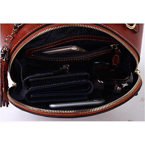 Messenger Bag Sac à Mesdames Red Main Rétro Véritable Ronde Petit En Sac Print ZXCB épaule Fleurs Cuir zCq6v