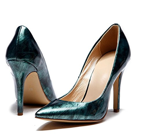 Dress Dark Leather Brush Stiletto Women's Evening Pointed Party off Green Shoes Patent TDA Sexy Toe wzU1qAn