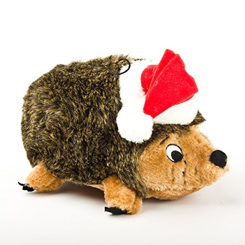 Outward Hound Holiday Hedgehog with Santa Hat Plush Dog Toy, Large, Brown