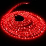 Red LED Strip light - Waterproof LED Flexible Light Strip 12V with 300 SMD 3528 LED - 16.4 Ft 5 Meter