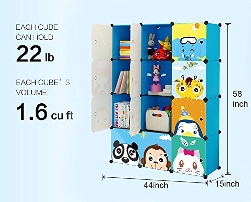 KOUSI Portable Kids Bookshelf Children Toy Organizer Multifuncation Cube Storage Shelf Cabinet Bookcase, Capacious & Study, Blue:12 Cubes by KOUSI (Image #3)