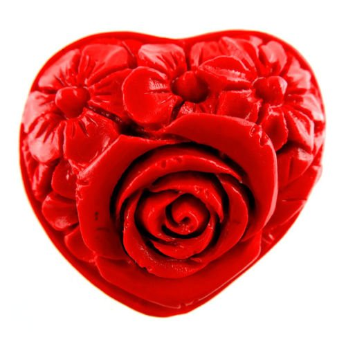 - FlyerShop(TM) 1Pcs Beautiful Red Cinnabar Heart Carved Flower Pendant Bead 33x39x22mm MZS257
