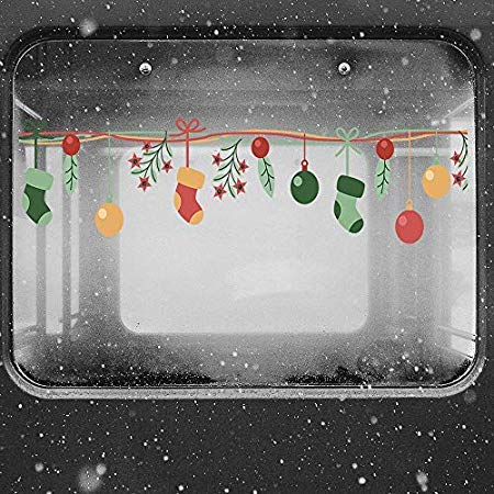 Merry Christmas Shop Window Decoration Wall Stickers Socks Decor Year Decorations - Wall Stickers