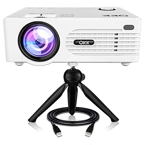 QKK [2019 Upgrade] Mini Projector -Full HD LED Projector 1080P Supported, 50,000 Hour Lamp Life with 170 Display for Home Theater Entertainment,Video Projector for HDMI,TV,SD Card,AV,VGA,USB x2