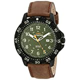 Timex Men's T49996 Expedition Gallatin Brown/Green Leather Strap Watch