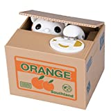 Creative Cat Stealing Coin Box - White Cat Piggy Bank Coin Container for Children Have Fun