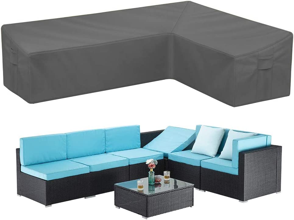 STARWO Patio Sectional Sofa Cover, Heavy Duty Waterproof Outdoor Sectional Furniture Cover Weatherproof L-Shaped Lawn Patio Furniture Cover with Air Vents Windproof Straps (Right Facing-Gray)