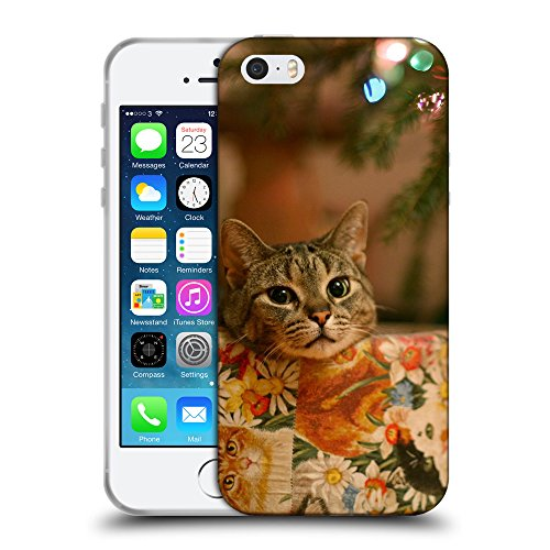 Just Phone Cases Coque de Protection TPU Silicone Case pour // V00004198 chat sous l'arbre du Nouvel An // Apple iPhone 5 5S 5G SE