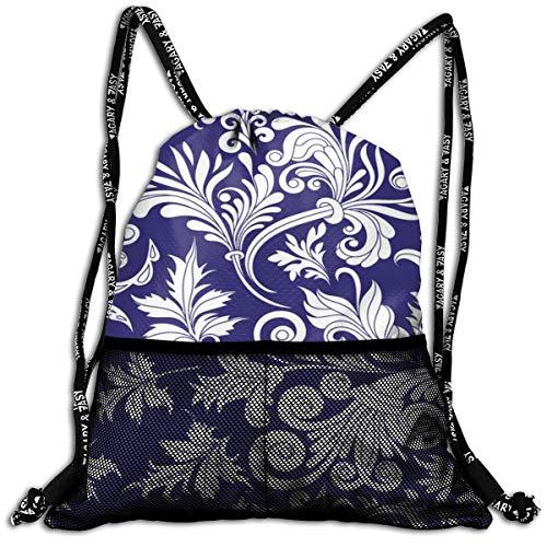 Taslilye Decorative Design Element Personalized Drawstring Backpack Front Zipper Mesh Bag Unisex For Travel Fitness