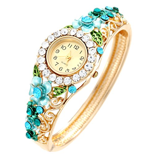 Ladies Purple Crystal Watches Wristwatch Gold Plated Bracelet