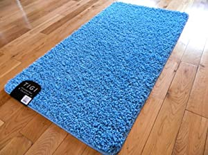 Non Slip Medium Sized Plain Washable Blue Bedroom Mats