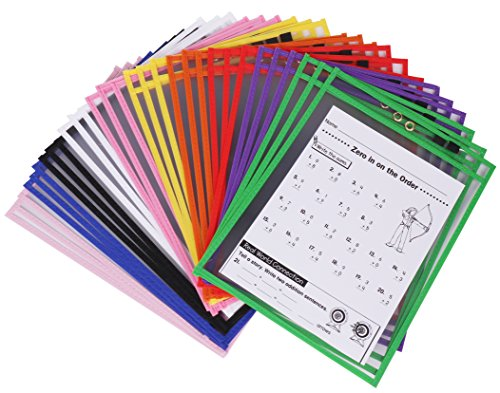 Dry Erase Pockets - Clear and Reusable Sheet Protectors Ideal for Classroom Organization - Large Size 9 x 12 inch - 30 Pack Assorted Colors with Marker Holder and Metal Eyelet