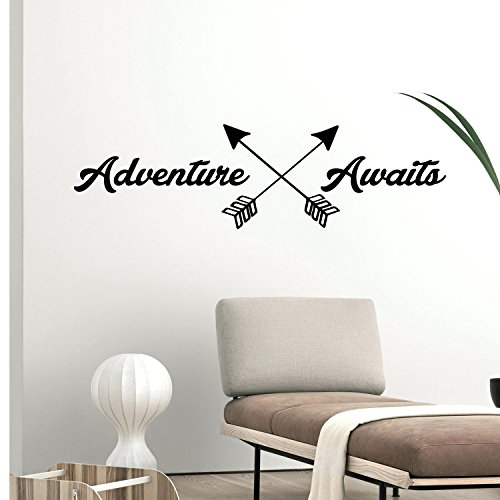 Adventure Awaits Lettering - Inspirational Life Quotes - Wall Art Decal - 11'' x 39'' Decoration Vinyl Sticker - Apartment Bedroom Living Room Wall Decor - Adventure Vacations Travel Peel Off Stickers by Pulse Vinyl