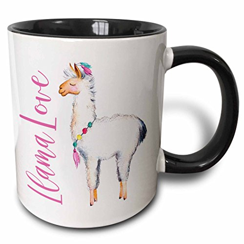- 3dRose 254946_4 Cute Watercolor Words Llama Love Ceramic Mug, 11oz, Black/White