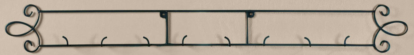 Augusta Black Horizontal Plate 44.75''W Wall 4-Place Rack